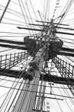 Mast and ropes of a classic sailboat Royalty Free Stock Images
