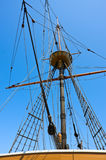 Mast, ropes and gear. Of old sail boat stock photos