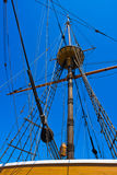 Mast, ropes and gear. Of old sail boat royalty free stock photos