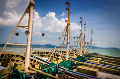 Mast. Rows of the ship above the towering mast Stock Images