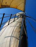 Mast of a sail boat. Up catching the wind Royalty Free Stock Photos