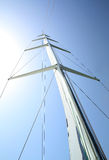 Mast of a sailboat against the sky Royalty Free Stock Image