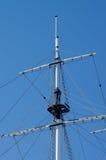 Mast. Sailboat Mast isolated on Blue Sky background Outdoors Royalty Free Stock Image