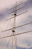 Mast of a sailing. Under sky stock images