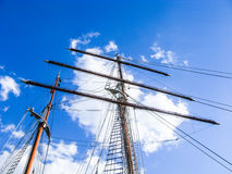 mast of sailing boat with a blue sky Royalty Free Stock Photo