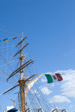 Mast sailing ship against a blue sky Stock Photo