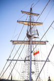 Mast of a sailing ship moored in Szczecin at sunset. Stock Photo