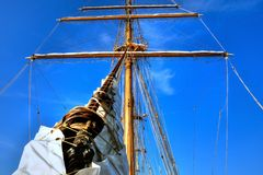 Before The Mast. Sailing Ship mast and rigging of a tall ship Royalty Free Stock Photos