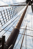Mast on a sailing wooden ship Royalty Free Stock Photo