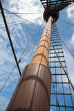 Mast on a sailing wooden ship Royalty Free Stock Photos