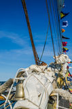Mast with sails of an sailing vessel Stock Photos