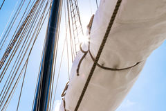 Mast, sails and shroud of a tall ship. Rigging detail. Royalty Free Stock Photography