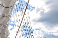 Mast, sails and shroud of a tall ship. Rigging detail. Royalty Free Stock Photos