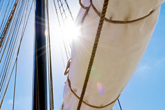 Mast, sails and shroud of a tall ship. Rigging detail. Royalty Free Stock Images