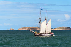 Mast schooner at sea Royalty Free Stock Image