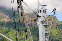Mast in Seychelles with mountains background Royalty Free Stock Photography