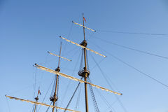 Mast of a ship. Detail with a sky background Royalty Free Stock Photo