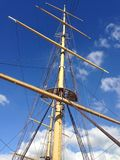 Mast of the ship against the sky. Summer stock images