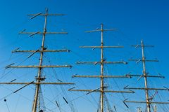 Mast of a ship on a background of blue sky. Stock Photography