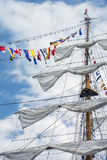 The mast of the ship with flags Royalty Free Stock Photo