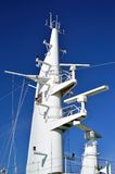 Mast of Ship. Main mast of ship showing radar, antennas and cables. Photo taken on cruise ship Royalty Free Stock Photos