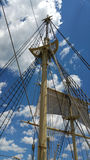 Mast and tackles with bright blue sky. Mast and tackles with bright blue sky in a background Royalty Free Stock Images