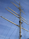 Mast of a Tall Ship. The mast and rigging of a tall ship stock photos