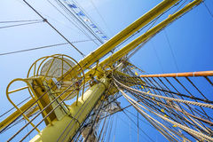 Mast of tall ship. In a sunny day Royalty Free Stock Photo