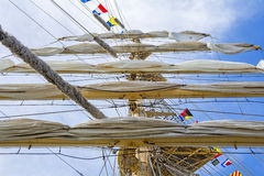 Mast of tall ship. In a sunny day Royalty Free Stock Images