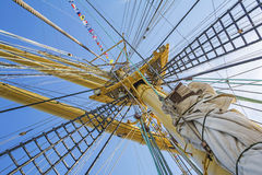 Mast of tall ship. In a sunny day Stock Image