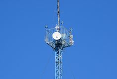 Mast tower relay Internet signals and telephone signals Stock Photo