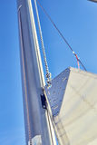 Mast track sail and its functions, front luff. Front luff sail, Mast track sail and its functions and installation Royalty Free Stock Photos