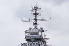 Mast warship. The lightning arresters and antenna shortwave and longwave data. Marine service Stock Photo