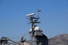 Mast warship. The lightning arresters and antenna shortwave and longwave data. Marine service.  Royalty Free Stock Images