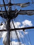 Mast, yardarms, rigging and sails Stock Photo