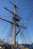 Mast, yardarms, rigging and sails Stock Photos