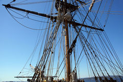 Mast, yardarms, rigging and sails Stock Image