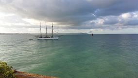 3 masted boat. Leaving the port of granville in normandy in a beatiful sea Royalty Free Stock Photography