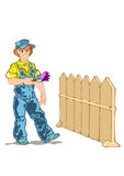 Master. Worker in a blue suit with a brush in his hand is going to paint the fence Stock Photo