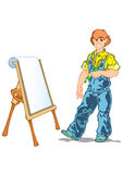 Master. Artist stands with a pencil in hand near easel Stock Photo