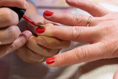 The master applies the Polish on the nails. the process of creating a manicure hands close-up. nail care stock photo