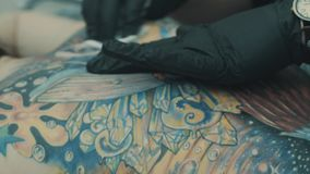 Master applying solution on the place for tattoo stock video