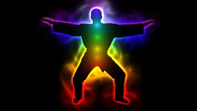 Master with aura and chakras - taichi, kungfu, judo, karate, taekwondo stock video footage