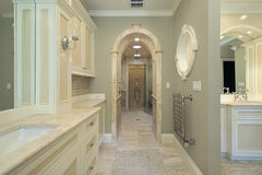 Master bath with arched shower entry Stock Image