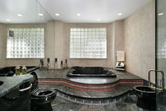 Master bath with black marble Royalty Free Stock Photography