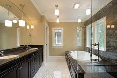 Master bath with black tub area Royalty Free Stock Images