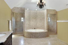 Master bath with circular bath Royalty Free Stock Photo