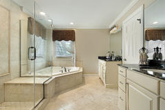 Master bath with cream colored cabinetry Stock Image