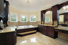 Master bath with dark wood cabinetry. Master bath in new construction home with dark wood cabinetry royalty free stock photography