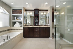 Master bath with dark wood cabinetry Stock Images